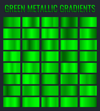 Collection of green metallic gradient. Brilliant plates with chrome effect. Vector illustration. Illustration