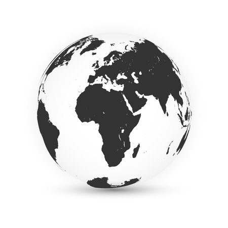 Earth globe. World map set. Planet with continents. Vector Illustration. Zdjęcie Seryjne - 124654482