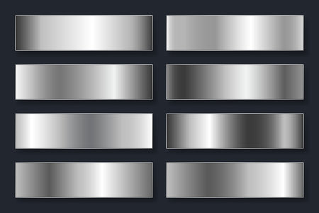 Collection of backgrounds with a metallic gradient. Brilliant plates with silver chrome effect. Vector illustration. Illustration