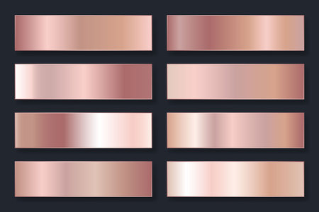 Collection of backgrounds with a metallic gradient. Brilliant plates with rose gold effect. Vector illustration. Illustration