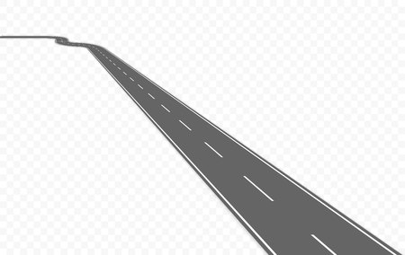 Curved road with markings. Vector illustration.
