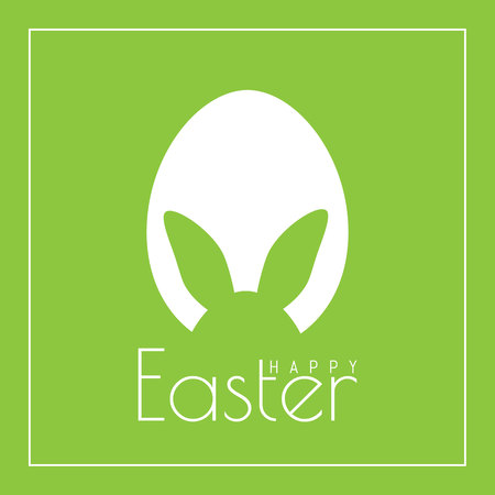 Happy Easter greeting card with egg and Easter Bunny in flat design. Vector illustration.