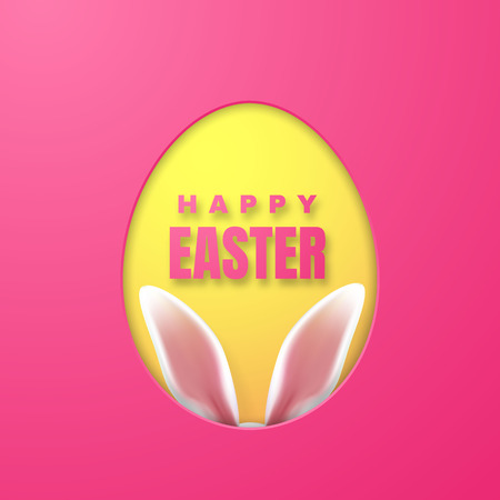 Happy Easter Greeting Card with Easter Bunny. Color Paper Easter Egg on Pink Background. Vector illustration.