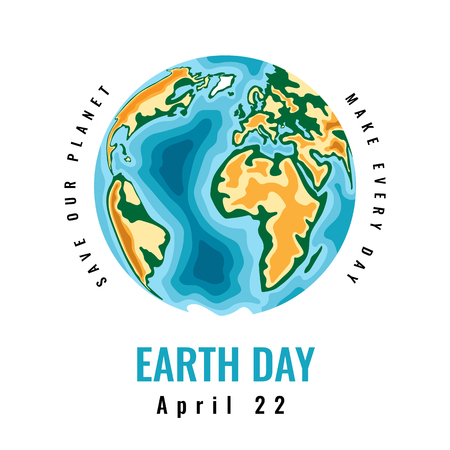 Happy World Earth Day. April 22. 3d paper cut style design. Vector illustration. Ilustração