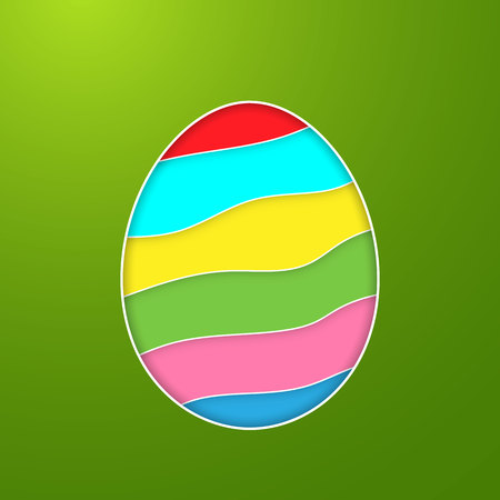 Happy Easter Greeting Card with Color Paper Easter Egg on Green Background. Vector illustration.