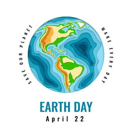 Happy World Earth Day. April 22. 3d paper cut style design. Vector illustration. Illustration