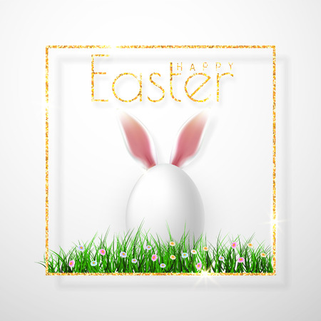 Happy Easter. Vector realistic Easter eggs, isolated on a gray background.