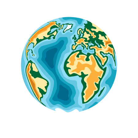 World planet. Earth in 3d paper cut style design. Vector illustration.