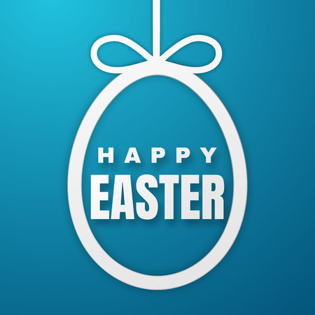 Happy Easter Greeting Card with Easter Bunny. Color Paper Easter Egg on Blue Background. Vector illustration.