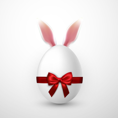 Happy Easter. Vector realistic Easter egg with red bow and Easter Bunny ears, isolated on a gray background.