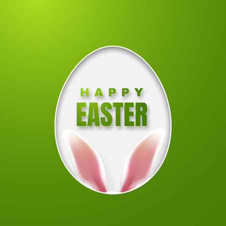 Happy Easter Greeting Card with Easter Bunny. Color Paper Easter Egg on Green Background. Vector illustration.