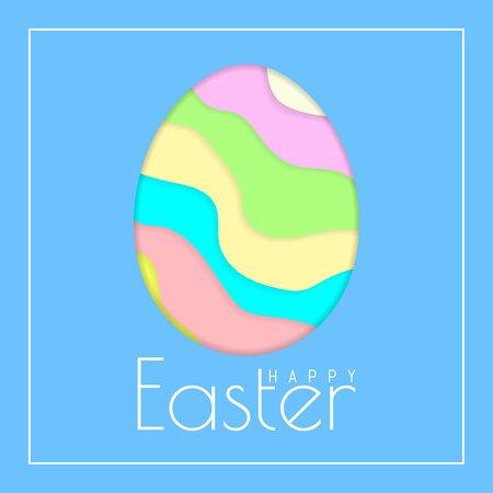 Happy Easter Greeting Card with Color Paper Easter Egg on Blue Background. Vector illustration. Illustration
