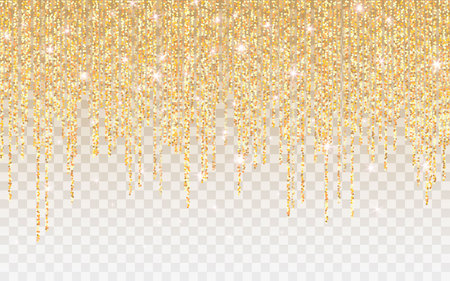 Golden glitter sparkle on a transparent background. Gold Vibrant background with twinkle lights. Vector illustration.  イラスト・ベクター素材