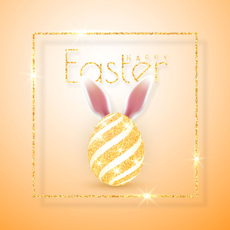 Happy Easter. Vector realistic Easter eggs, isolated on a orange background. Illustration