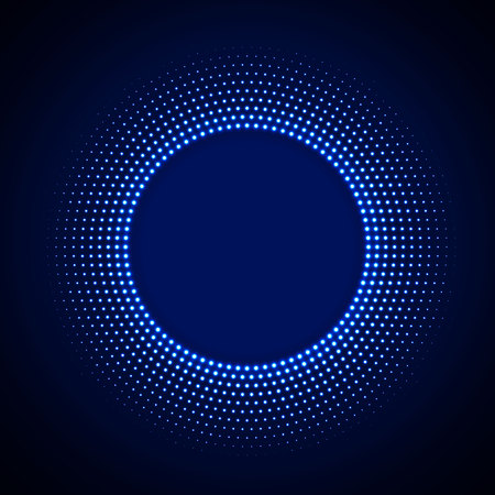 Technology background in neon style with neon glowing circle halftone ornament. Abstract disco background. Vintage cover. Vector illustration.