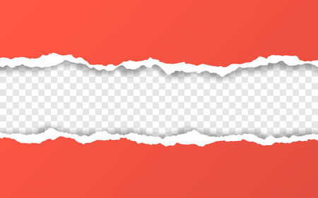 Horizontal torn paper edge. Ripped squared horizontal paper strips. Vector illustration. Illustration