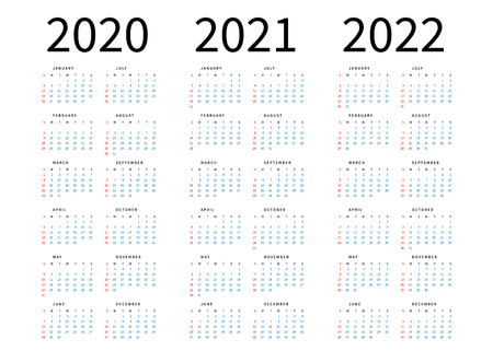 Mockup Simple calendar Layout for 2020, 2021 and 2022 years. Week starts from Sunday. Vetores