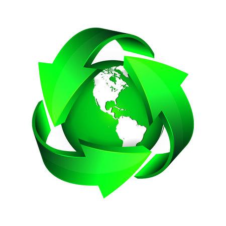 Recycler les flèches et la Terre verte. Illustration vectorielle. Vecteurs