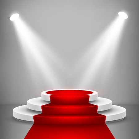 Round stage podium with light. Stage vector backdrop. Festive podium scene with red carpet for award ceremony. Vector illustration. 向量圖像
