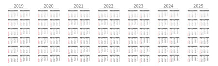 Mockup Simple calendar Layout for 2019 to 2025 years. Week starts from Sunday.