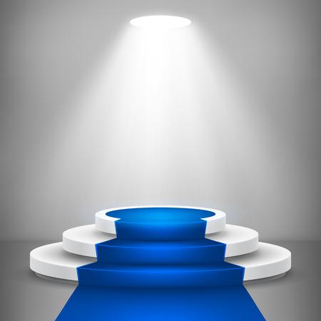 Okrągłe podium sceny ze światłem. Tło wektor etapie. Świąteczna scena podium z niebieskim dywanem na ceremonię wręczenia nagród. Ilustracja wektorowa. Ilustracje wektorowe