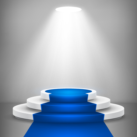 Round stage podium with light. Stage vector backdrop. Festive podium scene with blue carpet for award ceremony. Vector illustration. Vector Illustratie