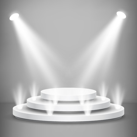 Round stage podium with light. Stage vector backdrop. Festive podium scene for award ceremony. Vector illustration.