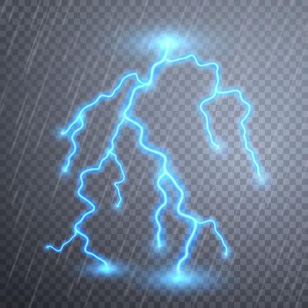 Lampi realistici con trasparenza per il design. Temporale e fulmini. Effetti di luce magici e luminosi. Illustrazione vettoriale. Vettoriali