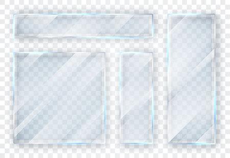 Set di lastre di vetro. Banner di vetro su sfondo trasparente. Vetro piano. Illustrazione vettoriale. Vettoriali