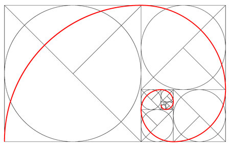 Minimalistic style design. Golden ratio. Geometric shapes. Circles in golden proportion. Illustration