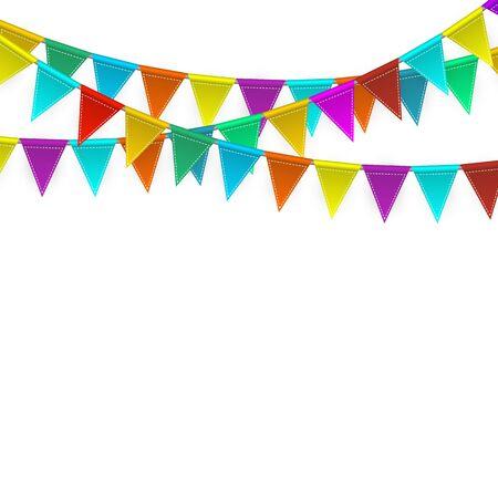 Carnevale di festa. Sfondo festa con bandiere. Biglietto di auguri di lusso. Illustrazione vettoriale.