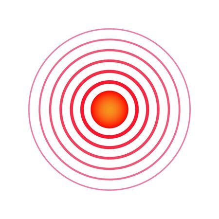 Pain circle. Red rings. Symbol throbbing pain. Medical design icon. Vector illustration. Banco de Imagens - 126862250
