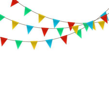 Carnevale di festa. Sfondo festa con bandiere. Biglietto di auguri di lusso. Illustrazione vettoriale. Vettoriali
