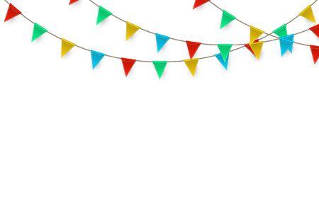 Carnaval de célébration. Fond de fête avec des drapeaux. Carte de voeux de luxe. Illustration vectorielle.