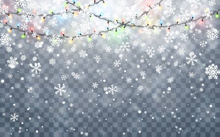 Christmas snow. Falling white snowflakes on dark background. Xmas Color garland, festive decorations. Glowing christmas lights. Vector snowfall, snowflakes flying in winter air. Ilustração