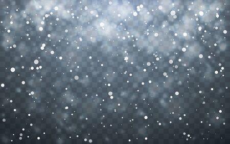 Christmas snow. Falling snowflakes on dark background. Snowfall. Vector illustration. 일러스트