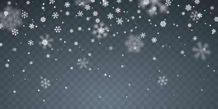 Christmas snow. Falling snowflakes on blue background. Snowfall. Vector illustration.