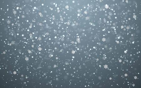 Christmas snow. Falling snowflakes on dark background. Snowfall. Vector illustration. Ilustracja