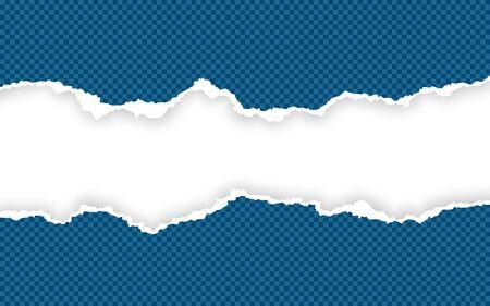 Horizontal torn paper edge. Ripped squared horizontal paper strips. Vector illustration. Ilustracja