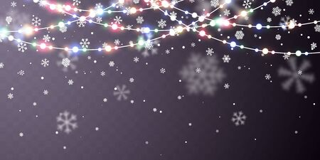 Christmas snow. Falling white snowflakes on dark background. Xmas Color garland, festive decorations. Glowing christmas lights. Vector snowfall, snowflakes flying in winter air.