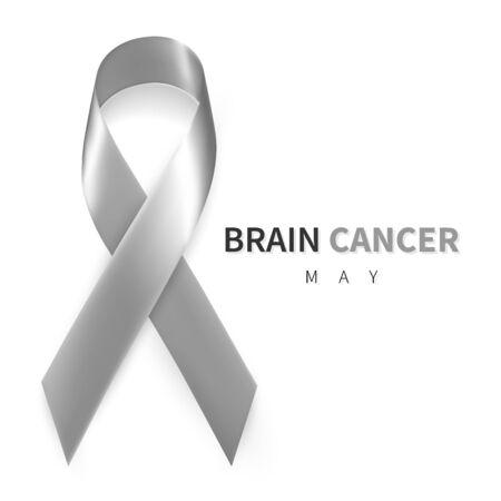 Brain Cancer Awareness Month. Realistic Grey ribbon symbol. Medical Design. Vector illustration.