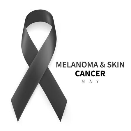 Melanoma and Skin Cancer Awareness Month. Realistic Black ribbon symbol. Medical Design. Vector illustration.
