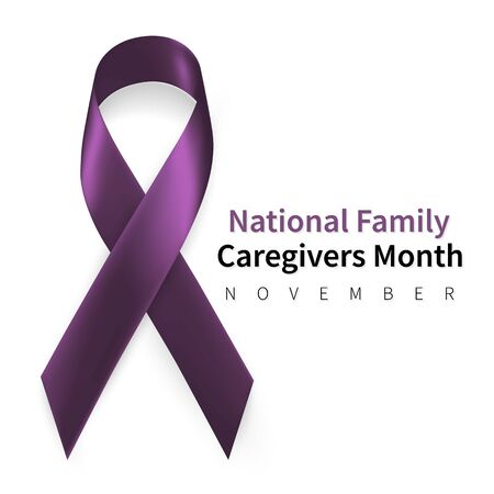 National Family Caregivers Month. Realistic Plum ribbon symbol. Medical Design. Vector illustration.
