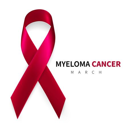 Multiple Myeloma Awareness Month. Realistic Burgundy ribbon symbol. Medical Design. Vector illustration.