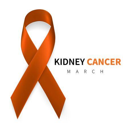 National Kidney Cancer Awareness Month. Realistic Orange ribbon symbol. Medical Design. Vector illustration.