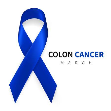 Colorectal, Colon Cancer Awareness Month. Realistic Dark Blue ribbon symbol. Medical Design. Vector illustration.