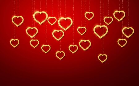 Gold handing shiny glitter glowing heart isolated on red background. Valentines Day background. Vector illustration.