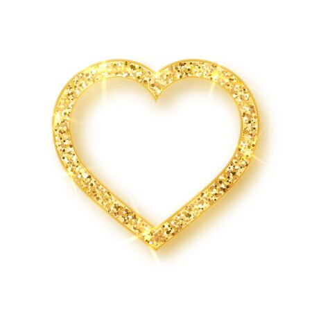 Gold shiny glitter glowing heart with shadow isolated on white background. Vector illustration. Foto de archivo - 131194387
