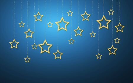 Gold handing shiny glitter glowing star isolated on blue night background. Vector illustration. Ilustração