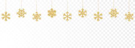 Christmas or New Year golden decoration on transparent background. Hanging glitter snowflake. Vector illustration. Ilustracja